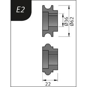 Lenkimo ritinėliai Typ E2, Ø 62 x 36 x 22 mm, Metallkraft