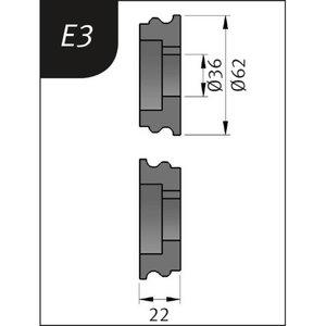 Lenkimo ritinėliai Typ E3, Ø 62 x 36 x 22 mm