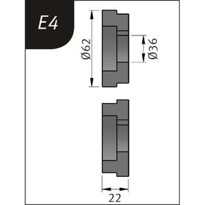 Lenkimo ritinėliai Typ E4, Ø 62 x 36 x 22 mm