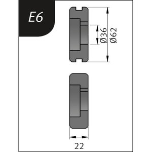 Lenkimo ritinėliai Typ E6, Ø 62 x 36 x 22 mm, Metallkraft