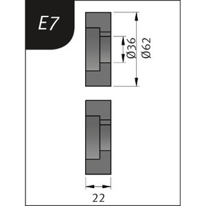 Lenkimo ritinėliai Typ E7, Ø 62 x 36 x 22 mm, Metallkraft