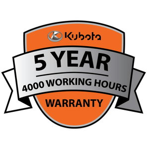 Manufacturer warranty 5 years/4000 working hours for MGX, Kubota