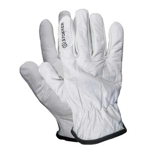 GREY COWHIDE LEATHER GRAIN GLOVE , Stokker