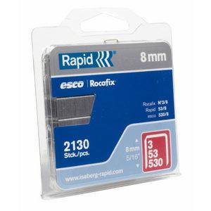klambrid 53/6 1080tk 11,4x0,75mm, punane, blisterpakend, Rapid