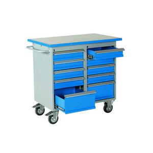 Tool trolley W1025xD600xH900mm, 10 drawers, vinyl, Intra
