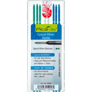Marking pen core, graphite, multi color, 8pcs -Dry, Pica