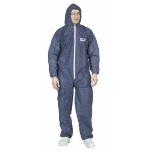 POLYPRO disposable overall with hood, 50 g/m2, blue, 2XL