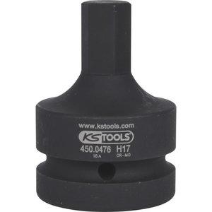 "1"" Impact bit socket for hexagon screws, 17mm, KS Tools"