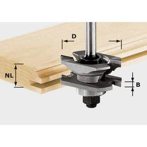 Profilu-kanāliņu frēze HW, kāts 8 mm  HW S8 D46 x D12-NT, Festool