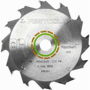 Zāģa asmens HW 160x2,2x20, PW12, 20°. Wood, soft platic, Festool