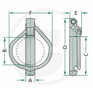 LYNCH PIN SET 7,5 mm Ø 42 mm galv 5pc, Granit
