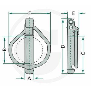Linch pin set 5pcs 9,5MM (9,5X45X52), Granit