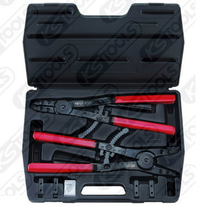 Circlip pliers set with ratchet function, 14 pcs, KS Tools