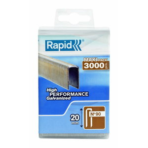 Скобы 90/20 3000 шт., пластмассовая коробка, RAPID