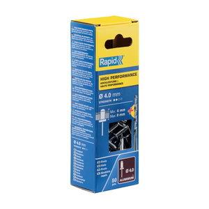 High performance rivets Al 4,0x12mm 50pcs + Drill C, Rapid