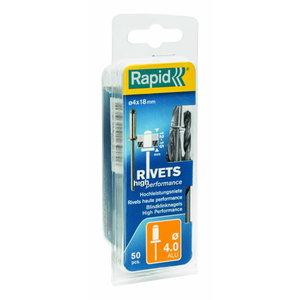 High performance rivets Al 4,0x18mm 50pcs + Drill C, Rapid