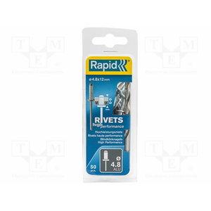 Kniedės aukštos kokybės  Al 4,8x12mm 50vnt + Drill C, Rapid