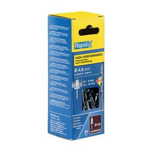 Kniedės aukštos kokybės    Al 4,8x16mm 50vnt + Drill C, Rapid