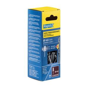 Kniedės aukštos kokybės   Al 4,8x25mm 50vnt + Drill C, Rapid