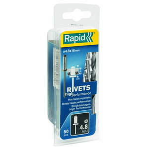 High performance rivets Al 4,8x25mm 50pcs + Drill C, Rapid