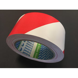 Norobežojošā lente (75mmx33m) (ar līmlentu) balta/sarkana, Folsen