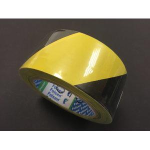 Piirdelint 50mmx33m (liimiga), must-kollane, Folsen