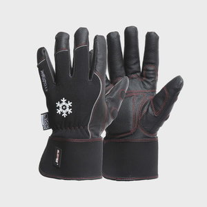 Gloves, PU palm, Spandex, wide cuff, lined, Black Winter 12, Gloves Pro®