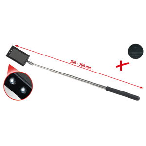 Telescopic mirror with led light 260-760mm, 50x80mm, KS tools