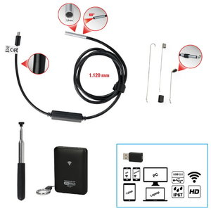 Wi-Fi video scope set with Ų 3.9 mm 0° front camera probe, 7, KS tools
