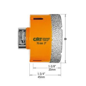 Diamond dry hole saw D=111 H=35mm DP RH, CMT