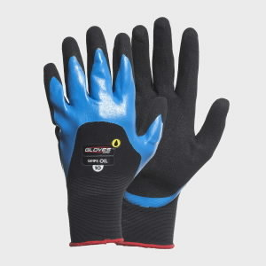 Gloves, GRIPS OIL, double nitrile palm, 3/4 back 10, Gloves Pro®