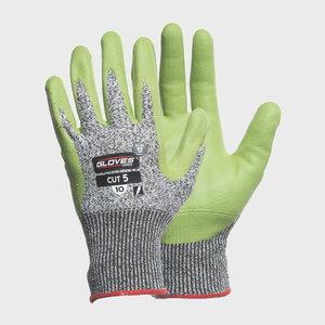 Gloves, cut resistant glass fiber, class 5, PU palm, green, Gloves Pro®