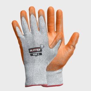 Gloves, cut resistant glass fiber, class 3, PU palm, orange, Gloves Pro®