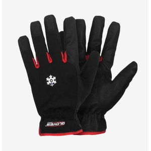 Wintergloves, PU/polyester, Red 10 8, Gloves Pro®