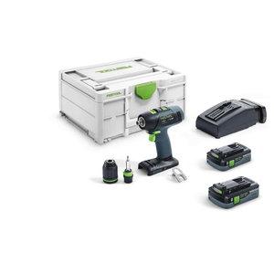 Cordless drill-driver T 18+3 HPC 4,0 I-Plus,18V / 4.0 Ah x 2, Festool
