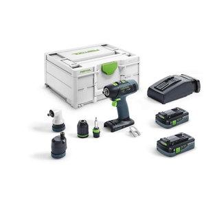 Cordless drill-driver T 18+3 HPC 4,0 I-Set,18V / 4.0 Ah x 2, Festool
