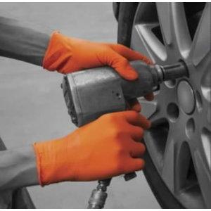 Cimdi, nitrila, bez pūlvera, vienreizlietoj., 90 gab, oranži S/7, Gloves Pro®