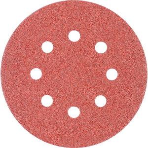 Šķiedrdisks ar līplenti d-125mm P60 Velcro (Hookit) 8 hole