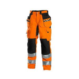 Kõrgnähtavad püksid ripptaskutega 6015 oranž/tumehall, Dimex
