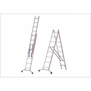 Combination ladder 2x8 steps 2,39/4,07m 6045, Hymer