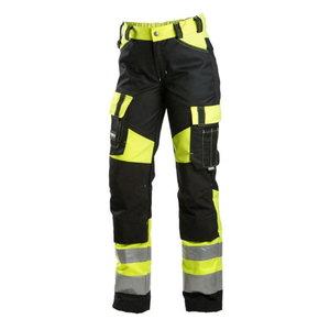 Tööpüksid 6046 naiste, kõrgnähtav CL1, must/kollane, DIMEX