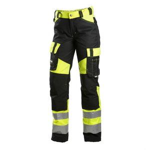 Kõrgnähtavad tööpüksid  6046 must/kollane, naistele, Dimex