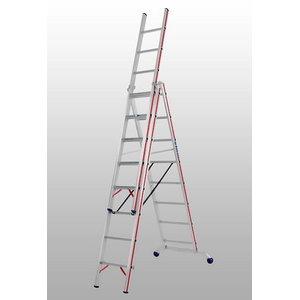 Combination ladder 3x14 steps 4,17/9,78m 6047, Hymer