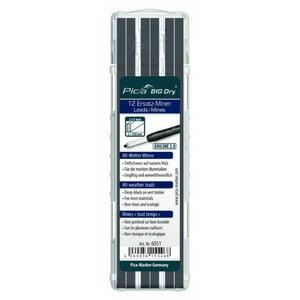 Marking pen core, graphite, black, 12pcs, Pica