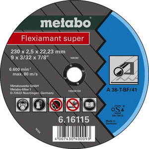 Cut-off wheel 230x2,5x22, metal, Metabo