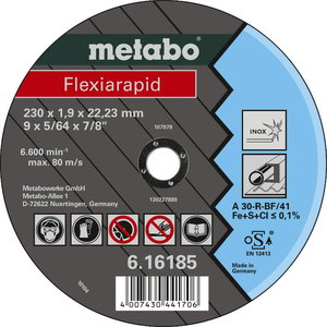Pjovimo diskas 125x1,6mm A46R INOX, Metabo