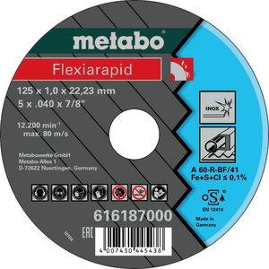 Pjovimo diskas 125x1mm A60R INOX, Metabo