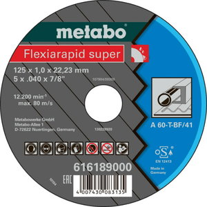 Режущий диск по металлу 125x1,0x22 A60T, METABO
