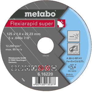 Metallilõikeketas 125x0.8x22 mm / A60-U. INOX, Metabo