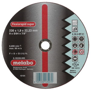 INOX lõikeketas 180x1,6x22 mm / A46U, Metabo